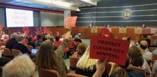 Rent Protection Protestors at City Council Meeting